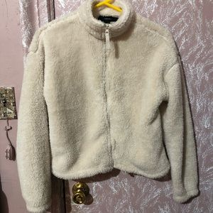 Forever21 Off White Teddy Zip Up Jacket